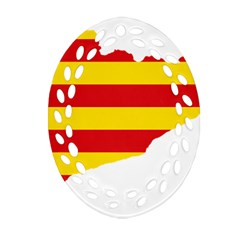 Flag Map of Catalonia Oval Filigree Ornament (2-Side)  by abbeyz71
