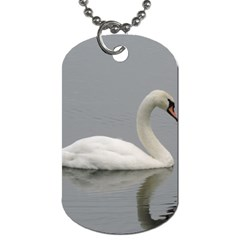 Swimming White Swan Dog Tag (one Side) by picsaspassion