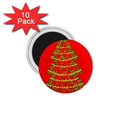 Sparkling Christmas Tree   Red 1 75  Magnets (10 Pack)  by Valentinaart