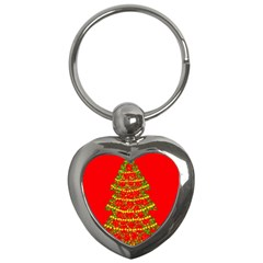 Sparkling Christmas Tree   Red Key Chains (heart)  by Valentinaart
