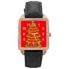Sparkling Christmas tree - red Rose Gold Leather Watch  by Valentinaart