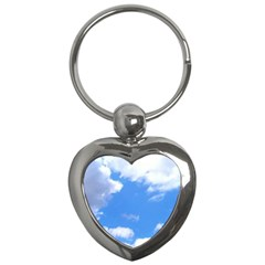 Summer Clouds And Blue Sky Key Chains (heart)  by picsaspassion