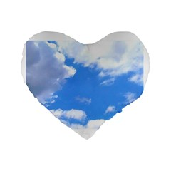 Summer Clouds And Blue Sky Standard 16  Premium Heart Shape Cushions by picsaspassion