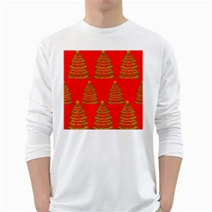 Christmas Trees Red Pattern White Long Sleeve T Shirts by Valentinaart