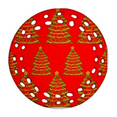 Christmas Trees Red Pattern Round Filigree Ornament (2side) by Valentinaart