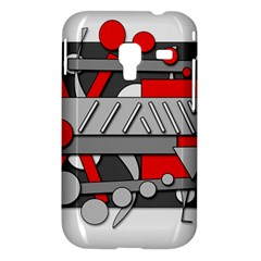 Gray and red geometrical design Samsung Galaxy Ace Plus S7500 Hardshell Case by Valentinaart