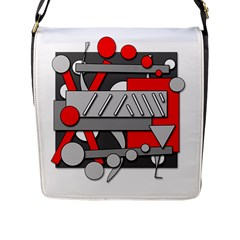 Gray And Red Geometrical Design Flap Messenger Bag (l)  by Valentinaart