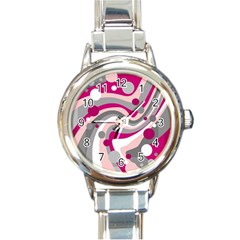 Magenta, pink and gray design Round Italian Charm Watch by Valentinaart