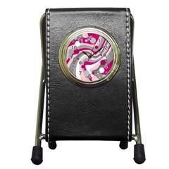 Magenta, Pink And Gray Design Pen Holder Desk Clocks by Valentinaart