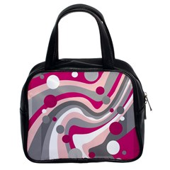 Magenta, Pink And Gray Design Classic Handbags (2 Sides) by Valentinaart