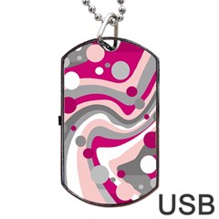 Magenta, Pink And Gray Design Dog Tag Usb Flash (one Side) by Valentinaart
