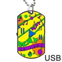Music Dog Tag Usb Flash (one Side) by Valentinaart