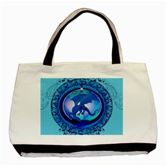 The Blue Dragpn On A Round Button With Floral Elements Basic Tote Bag by FantasyWorld7