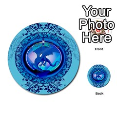 The Blue Dragpn On A Round Button With Floral Elements Multi-purpose Cards (Round)  by FantasyWorld7
