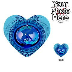 The Blue Dragpn On A Round Button With Floral Elements Multi Purpose Cards (heart)  by FantasyWorld7