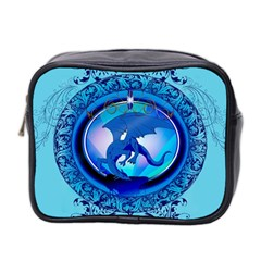 The Blue Dragpn On A Round Button With Floral Elements Mini Toiletries Bag 2 Side by FantasyWorld7