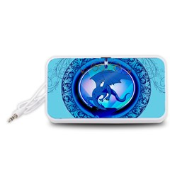 The Blue Dragpn On A Round Button With Floral Elements Portable Speaker (white)  by FantasyWorld7