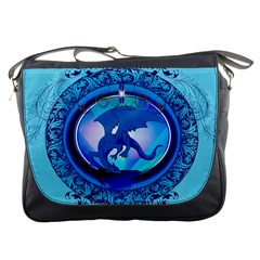The Blue Dragpn On A Round Button With Floral Elements Messenger Bags by FantasyWorld7