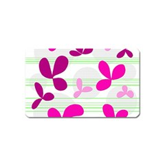 Magenta floral pattern Magnet (Name Card) by Valentinaart