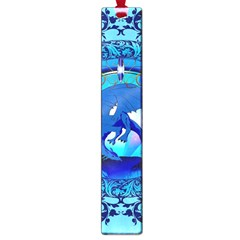 The Blue Dragpn On A Round Button With Floral Elements Large Book Marks by FantasyWorld7
