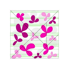 Magenta Floral Pattern Acrylic Tangram Puzzle (4  X 4 ) by Valentinaart