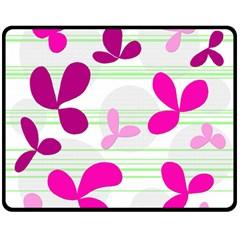 Magenta Floral Pattern Double Sided Fleece Blanket (medium)  by Valentinaart