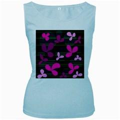Magenta floral design Women s Baby Blue Tank Top by Valentinaart