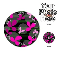 Magenta Floral Design Playing Cards 54 (round)  by Valentinaart