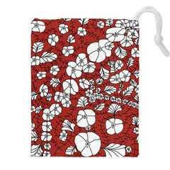 Cvdr0098 Red White Black Flowers Drawstring Pouches (XXL) by CircusValleyMall