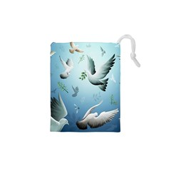 Animated Nature Wallpaper Animated Bird Drawstring Pouches (xs)  by AnjaniArt