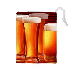 Beer Wallpaper Wide Drawstring Pouches (large)  by AnjaniArt