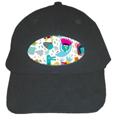 Colorful Cartoon Funny People Black Cap by AnjaniArt