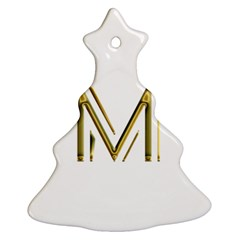 M Monogram Initial Letter M Golden Chic Stylish Typography Gold Ornament (christmas Tree) by yoursparklingshop