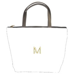 M Monogram Initial Letter M Golden Chic Stylish Typography Gold Bucket Bags by yoursparklingshop