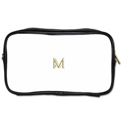 M Monogram Initial Letter M Golden Chic Stylish Typography Gold Toiletries Bags 2 Side by yoursparklingshop
