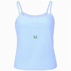 M Monogram Initial Letter M Golden Chic Stylish Typography Gold Baby Blue Spaghetti Tank by yoursparklingshop