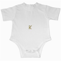 Monogrammed Monogram Initial Letter K Gold Chic Stylish Elegant Typography Infant Creepers by yoursparklingshop