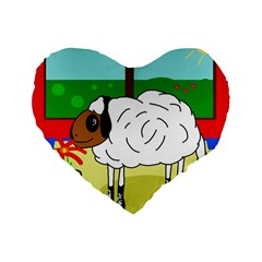 Urban Sheep Standard 16  Premium Flano Heart Shape Cushions by Valentinaart