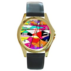Abstract waves Round Gold Metal Watch