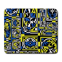 Blue And Yellow Decor Large Mousepads by Valentinaart