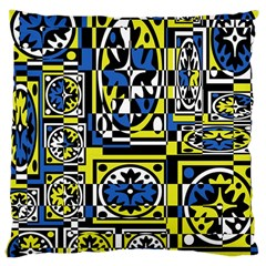Blue And Yellow Decor Large Cushion Case (two Sides) by Valentinaart