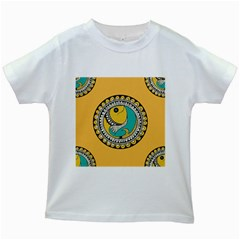 Madhubani Fish Indian Ethnic Pattern Kids White T-Shirts by Zeze