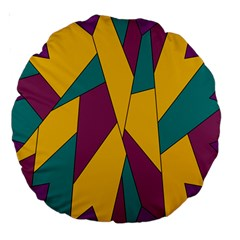Bursting Star Poppy Yellow Violet Teal Purple Large 18  Premium Round Cushions by CircusValleyMall