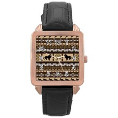 Lion African Vector Pattern Rose Gold Leather Watch  by Zeze