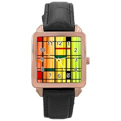 Line Rainbow Grid Abstract Rose Gold Leather Watch  by Zeze