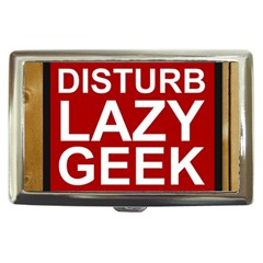 Do Not Disturb Lazy Geek Studying Glass Framed Poster Cigarette Money Cases by AnjaniArt