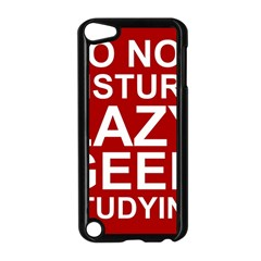 Do Not Disturb Lazy Geek Studying Glass Framed Poster Apple iPod Touch 5 Case (Black) by AnjaniArt