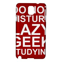 Do Not Disturb Lazy Geek Studying Glass Framed Poster Samsung Galaxy Note 3 N9005 Hardshell Case by AnjaniArt