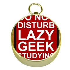 Do Not Disturb Lazy Geek Studying Glass Framed Poster Gold Compasses by AnjaniArt