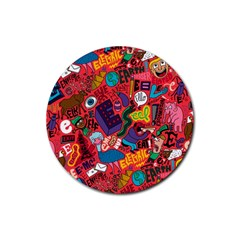 E Pattern Cartoons Rubber Coaster (round)  by AnjaniArt